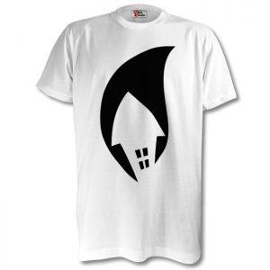 White Tee Black Logo Chest