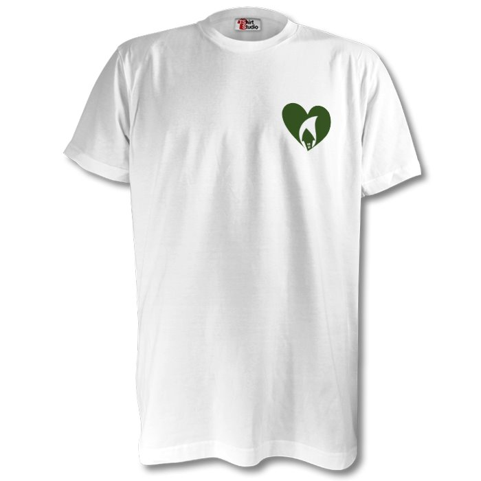 White Tee Green Heart Breast
